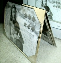 Double Picture Frame Silver 5 x 7 Photos Triangular Modern Desk Display ... - $15.83