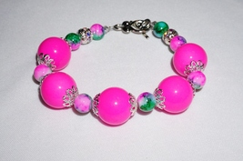 Pink and Green Chunky Bracelet,  Toggle and Clasp Bracelet, Pink Jewelry - $15.99