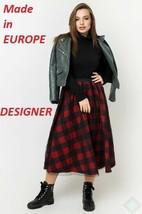 Skirt Women Fantasy Designer European Fashion Knitted Red Summer Fall XS... - $57.29