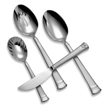 WATERFORD CARINA MATTE FLATWARE 4 PIECE HOSTESS SET 18/10 STAINLESS STE... - $144.90