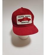 Vintage Trucker Hat Cap 1970's Auto Parts Center Patch Snap Back Red Sna... - $89.09