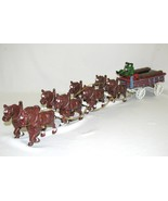 Vtg Budweiser Anheuser Busch Cast Iron Carriage Clydesdale Horse Beer Wagon Cart - $79.19