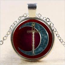 SWORD & CRESCENT CABOCHON NECKLACE  (12113)   >> COMBINED SHIPPING - $3.25