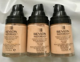 Lot of 3: NEW Revlon PhotoReady Makeup Foundation SPF 20 in 001 Ivory (N... - $19.79