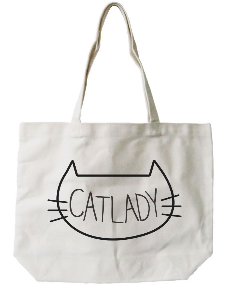 Cat Lady Canvas Tote Bag - 100% Cotton Eco Bag, Shopping Bag, Book Bag