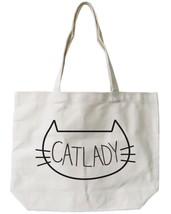 Cat Lady Canvas Tote Bag - 100% Cotton Eco Bag, Shopping Bag, Book Bag - $21.25 CAD