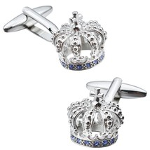 HAWSON Trendy Crown Man Shirt Cuff Links for Wedding Business Silver (Si... - $17.17