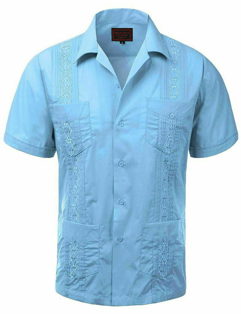 Guayabera Men's Beach Wedding Short Sleeve Button-Up Casual Shirt W/ DEFECT 2XL