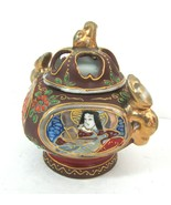 VTG Japanese Satsuma Moriage Incense Burner Small Porcelain Jar Hand Pai... - $19.75