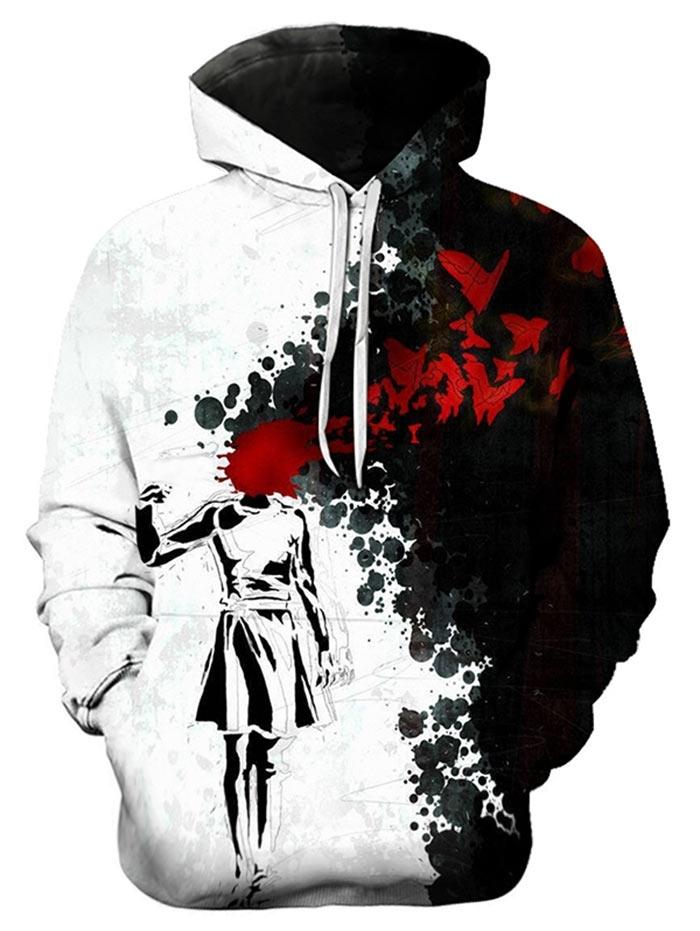 Halloween Blood Girl Printed Splash Ink Hoodie(BLACK S)