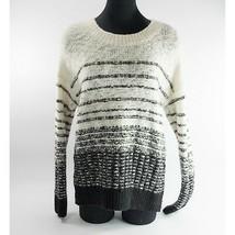 Vince Wool Nylon Black Cream Soft Chunky Striped Sweater Lg - $44.06