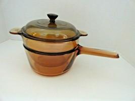 Pyrex Amber Vision Ware ~ 1.5 Liter Double Boiler w/Lid & V-20-B Insert - $39.59