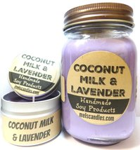 COMBO SET Coconut Milk & Lavender 16oz Country Jar Soy Candle and 4oz So... - $23.00