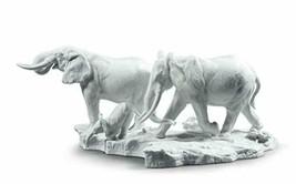 LLADRÓ A Stop Along The Way Elephants Sculpture. White. Porcelain Elephant. - $2,220.99