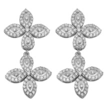 925 Sterling Silver White Zircon Two Butterfly Designer Earring SHER0467 - $34.11