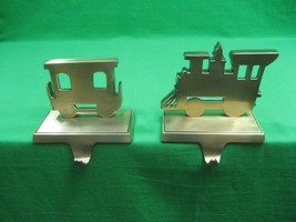 Vintage Brass Train Engine and Caboose Christmas Stocking Hangers - $28.01