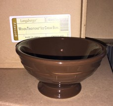 Longaberger Woven Traditions Pottery Ice Cream Bowl in Chocolate - NIB! - $18.86