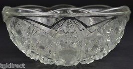 "Clear Cut Glass Shield Pattern Scalloped Fruit Bowl 8"" Wide Tableware Decor - $19.99"