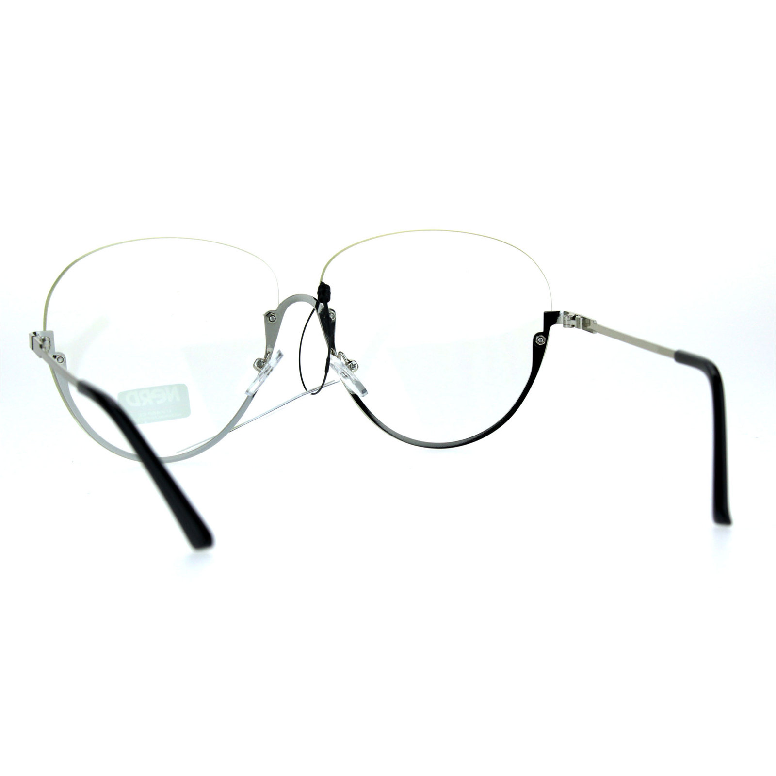Womens Oversize Granny Upside Down Half Rim Clear Lens Eye Glasses