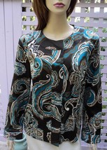 ADDITIONS by CHICO'S Brown/Peacock Blue Paisley Stretch Cotton Jacket (S... - $34.20