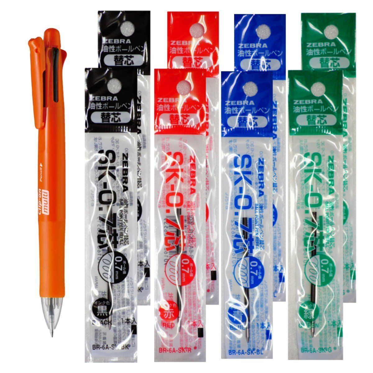 Zebra B4SA1 Orange Pen+SK-0.7 Black,Blue,Red,Green 0.7mm Refills (8p