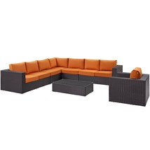 Convene 7 Piece Outdoor Patio Sectional Set Espresso Orange EEI-2162-EXP... - $2,789.25