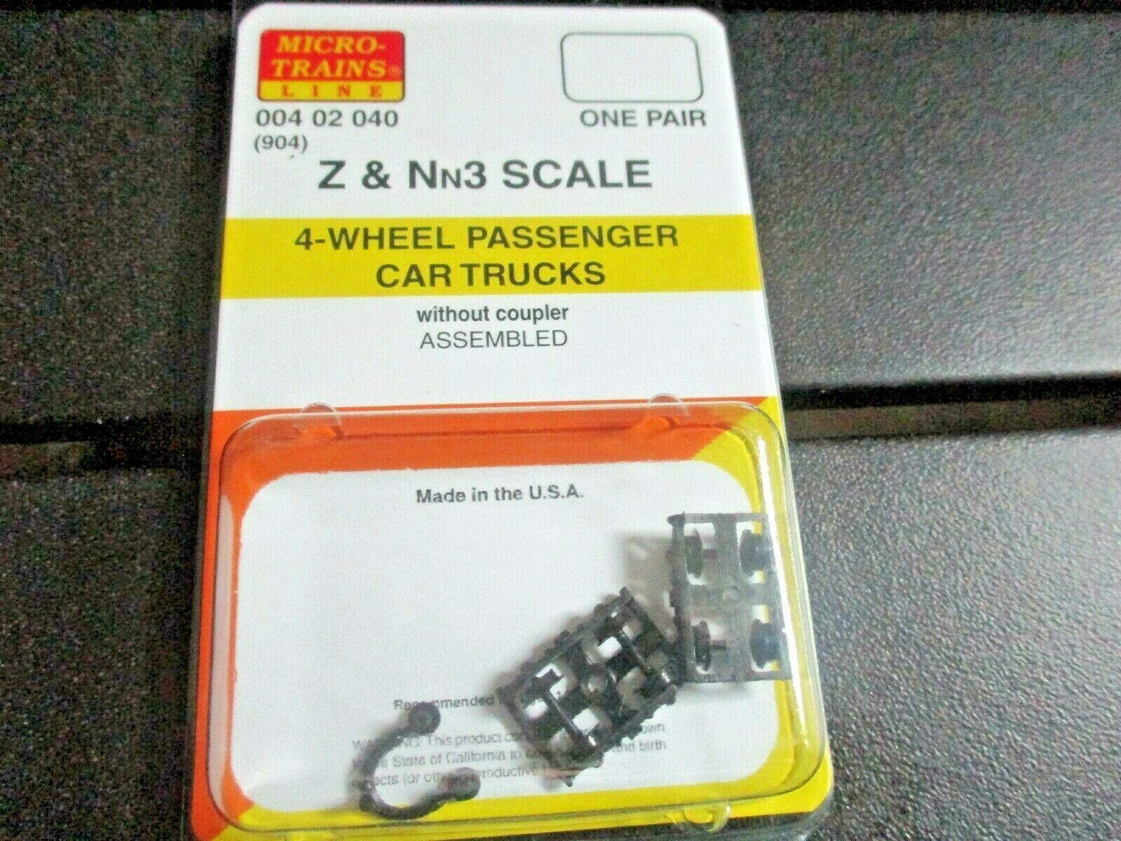 Micro-Trains Stock # 00402040 (904) 4-wheel Passenger Car Trucks Z & Nn3