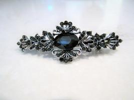 Small blue and silver flower crystal hair barrette clip bridal barrette - $8.96