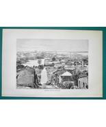 CUBA View of Seaport Matanzas - 1891 Antique Print Engraving - $20.25
