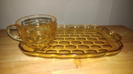 Fenton Amber Depression Glass Serving Tray with... - $11.30
