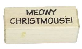 Reindeer Face and Meowy Christmouse! Rubber Mounted on Wood Stamps, Set of 2 image 3