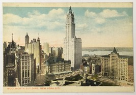 Old Linen Era Postcard Woolworth Building New York City NY Broadway & Ba... - $11.75