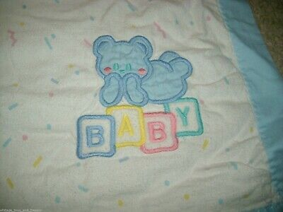 Primary image for 36 24 VINTAGE CUDDLE TIME BABY BLUE BOY TEDDY BEAR SHEET BEDDING BLANKET FLANNEL