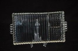Old Vintage Hazel-Atlas Ball and Ribbed Clear Sip Snack Smoke Tray MCM - $19.79