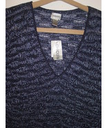 Chico's Design Women's sweater multi blue tweed open knit top-3 XL 16-NW... - $22.72