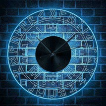 12' Rune Glowing Luminous Wall Clock LED Light Viking Runes Decor Perfec... - $63.67