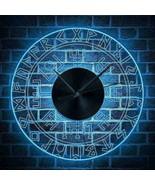12' Rune Glowing Luminous Wall Clock LED Light Viking Runes Decor Perfec... - $63.67