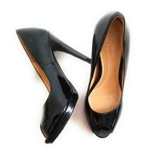 Cole Haan Women's Size 8 B Black Leather Chelsea Peep Toe High Pumps Slip On - $44.55