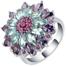 Hainon Luxury Colorful Cubic Zirconia Flower Wedding Rings for Women Cha... - $15.98