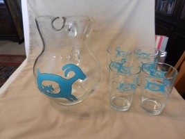 Crisa Clear Glass Water Pitcher and 4 Glasses for Lemonade, Ice Tea Hand... - $41.57