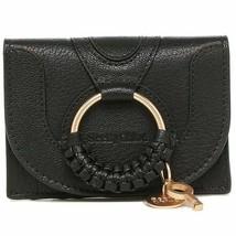 NWT SEE BY CHLOE Hana Compact Wallet Card Case Bill Black Gold CHS20AP92... - $163.35