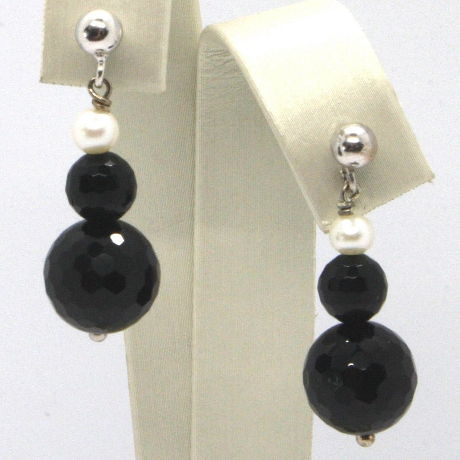Drop Earrings White Gold 18K, White Pearls, Onyx Black FACET