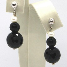 Drop Earrings White Gold 18K, White Pearls, Onyx Black FACET image 1