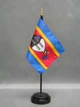 """Swaziland 4X6"""" Table Top Flag W/ Base New Desk Top Handheld Stick Flag - $4.95"""