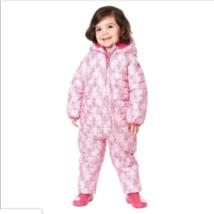 Snozu Weatherproof Fleece Lined Hooded Snowsuit Baby Girls Pink Mosaic 3/6M image 1