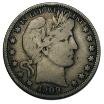 1909 Liberty Barber Head Half Dollar 50¢ Silver Coin Lot F 847