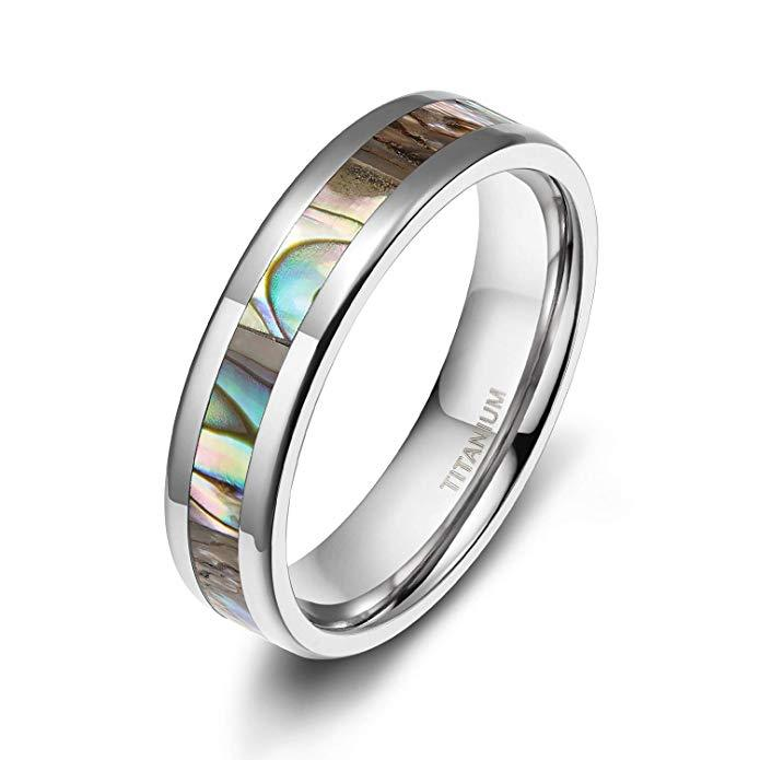 4mm Titanium Ring Abalone Shell Inlay Comfort Fit Wedding Band Sizes 4-15 & Half