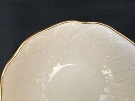 Vintage Lenox Cream Beige 24k Gold Rim Encrusted Bowl Made in USA Leaf Leaves image 6