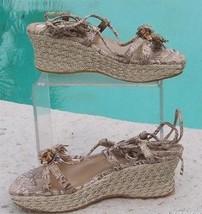 Stuart Weitzman Platform Espadrille Wedge Shoe Sandal New 6.5 Metallic $255 NIB - $114.75