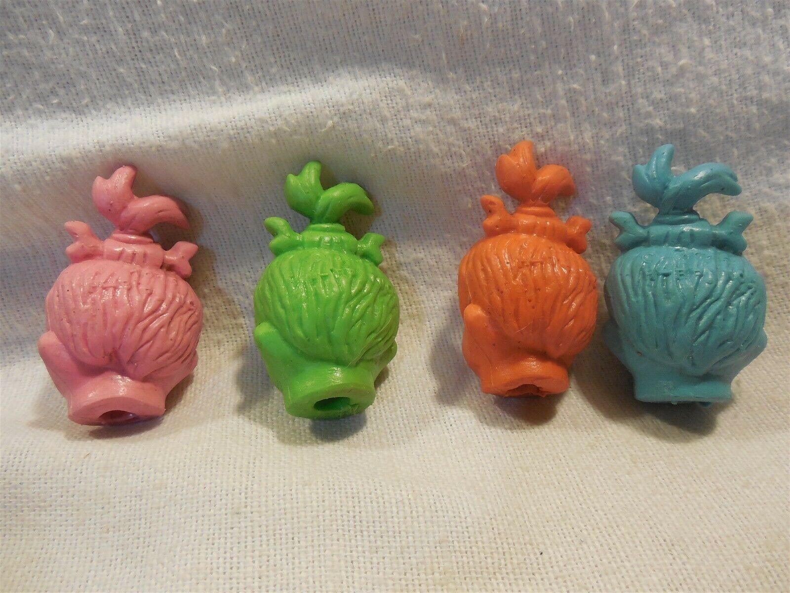Flintstones 1976 HBP Inc Set of 4 Pebbles Flintstone Pencil Top Rubber Erasers